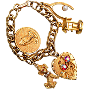 Beautiful Gold Tone Charm Bracelet with Prayer