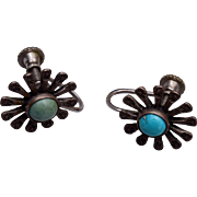 Sterling and Turquoise Flower Earrings