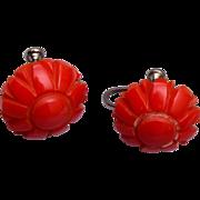Red Flower Bakelite Earrings