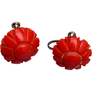 Red Flower Bakelite Earrings