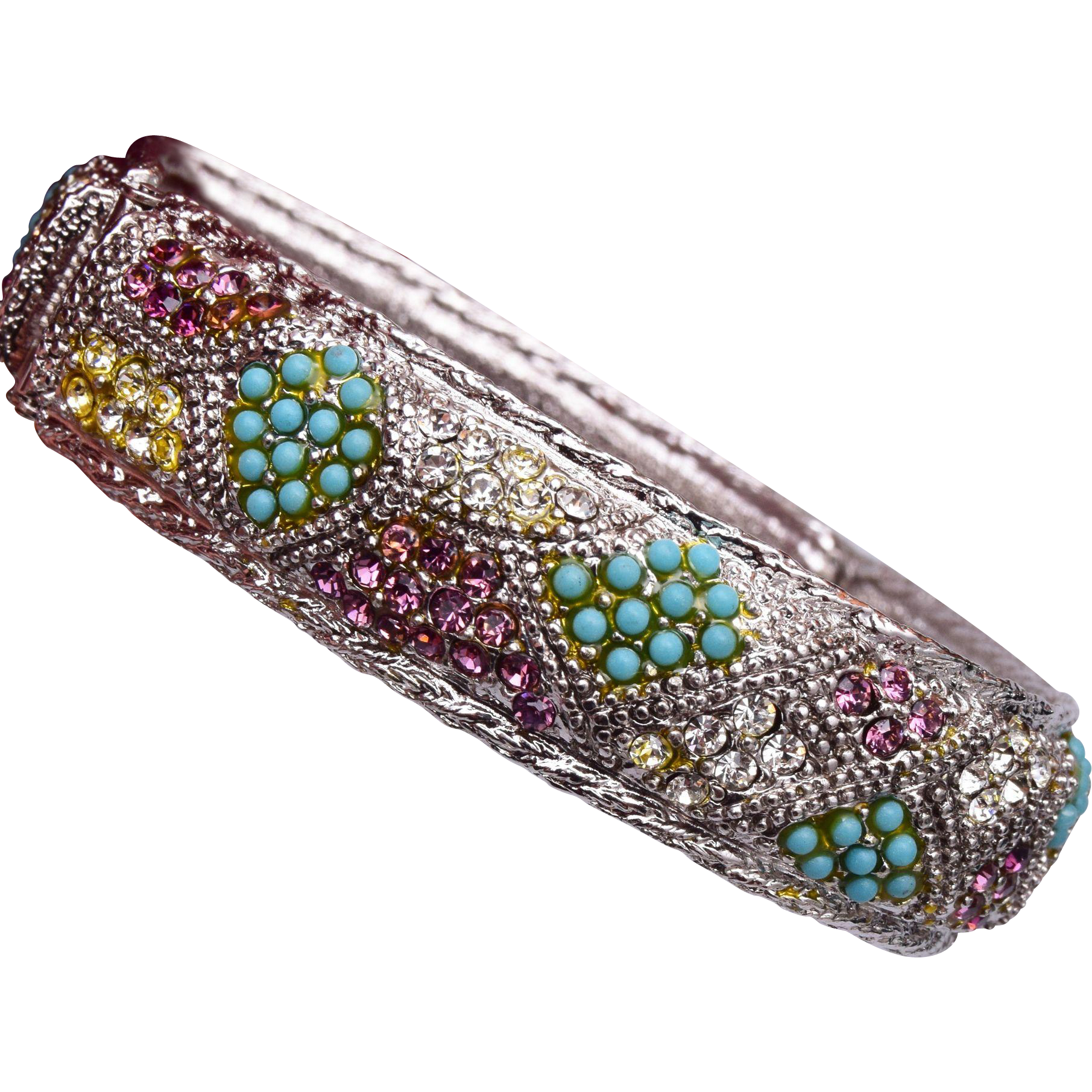 Sarah Coventry Hinged Rhinestone and Turquoise Bracelet