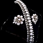 White Milk Glass Bracelet and Earring Set