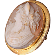 10kt Gold Shell Cameo Brooch or Pendant