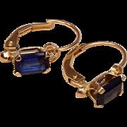 Blue Stone 14kt Gold Pierced Earrings