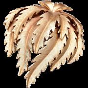 Trifari Brushed Gold Tone Leaf Brooch