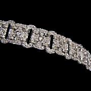 Art Deco 2 Clasp Rhinestone Bracelet