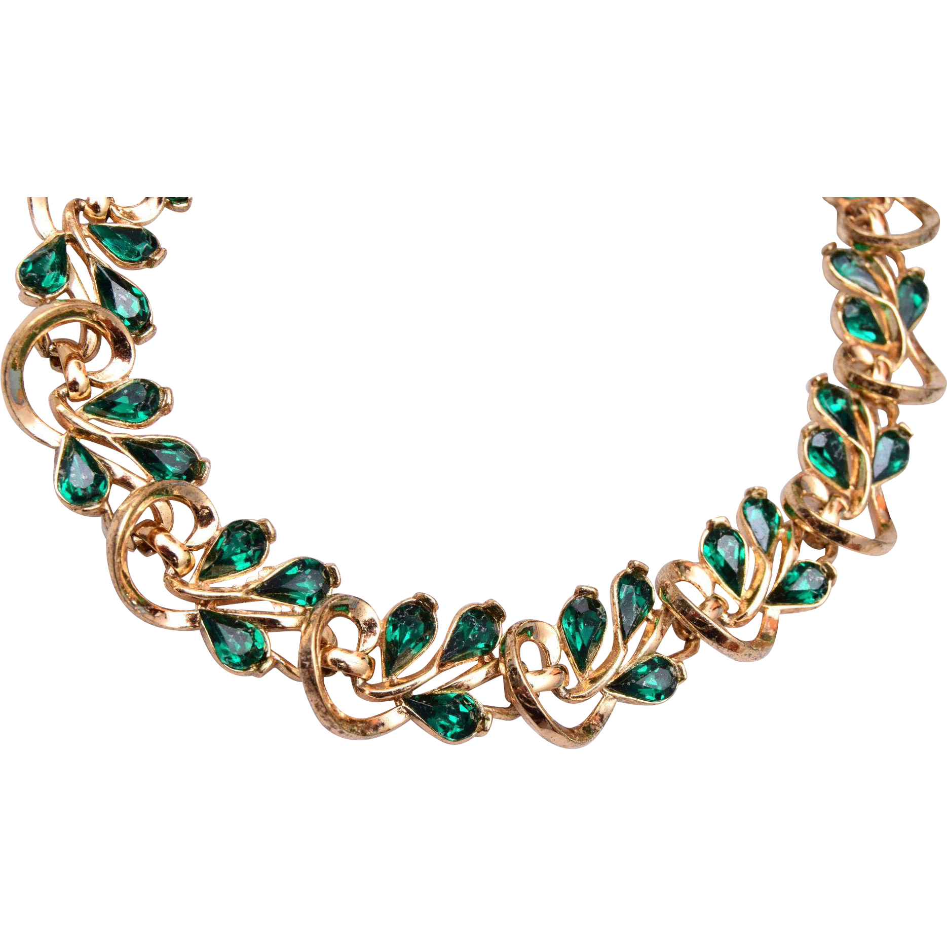Trifari Green Rhinestone Necklace