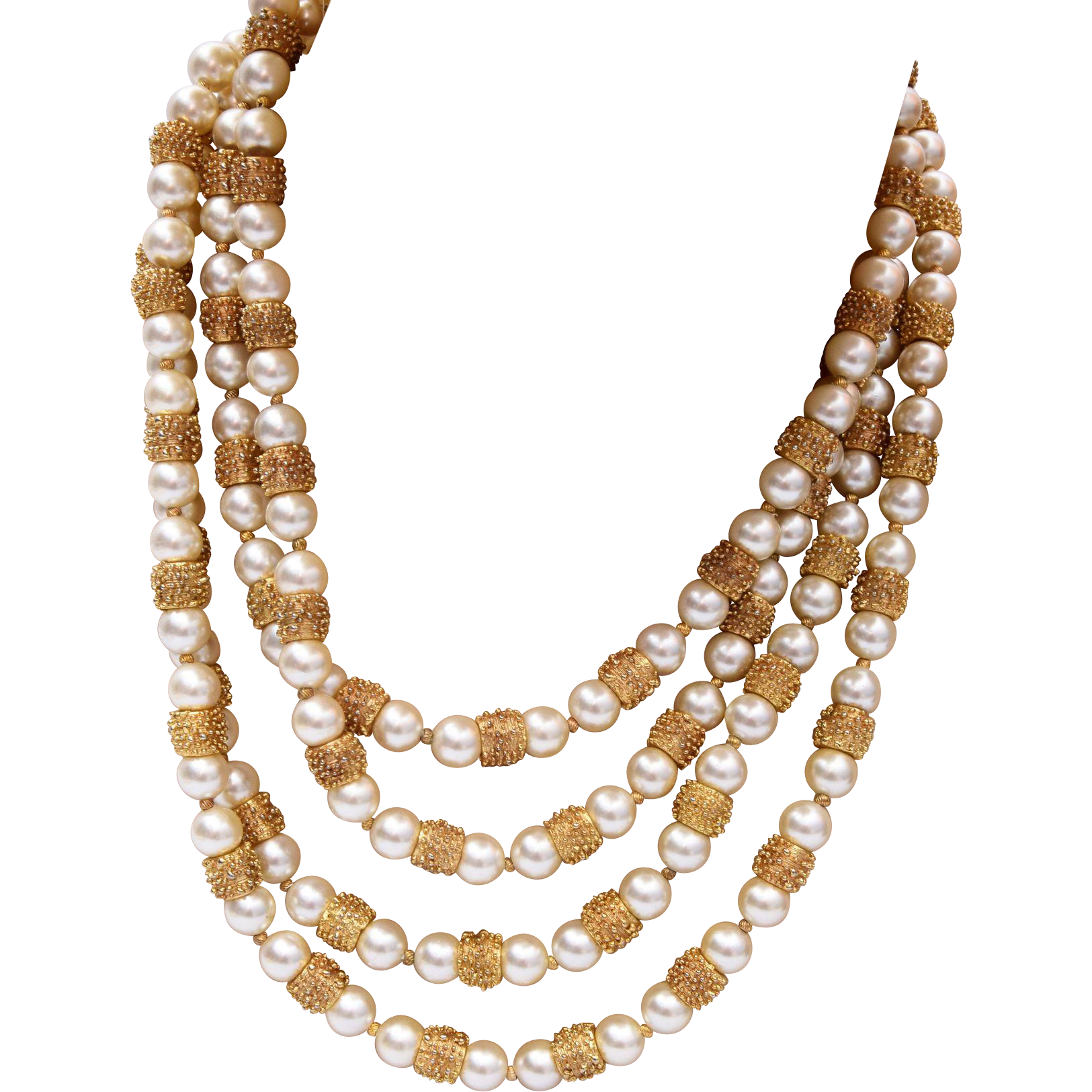 Trifari 4-Strand Faux Pearl and Knobby Gold Tone Beaded Necklace