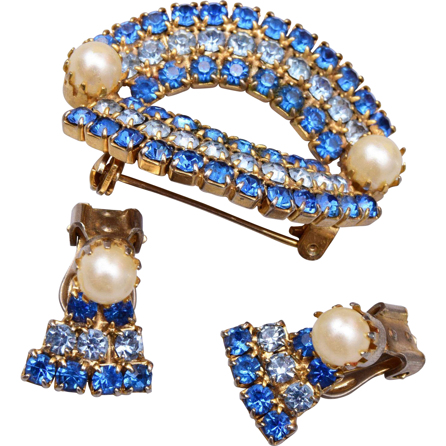 Two Shades of Blue and Faux Pearl Brooch and Earring Set