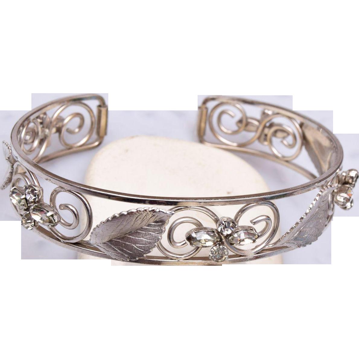 Krementz Silver Cuff Bracelet with Rhinestones