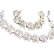 White Enameled Flower and Rhinestone Necklace and Bracelet Set