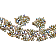 Faux Pearl and Aurora Borealis Rhinestone Bracelet and Earring Set