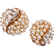 Pre 1955 Trifari Faux Pearl and Rhinestone Earrings