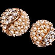 Pre 1955 Trifari Faux Pearl and Rhinestone Earrings