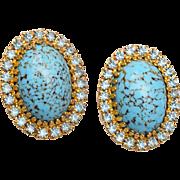 Beautiful Blue and Rhinestone Earrings