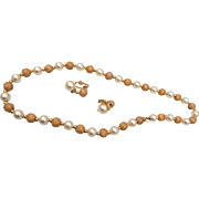 Napier Faux Pearl and Bumpy Gold Tone Beaded Necklace and Earring Set