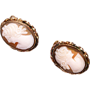 Pierced Gold Filled Cameo Earrings
