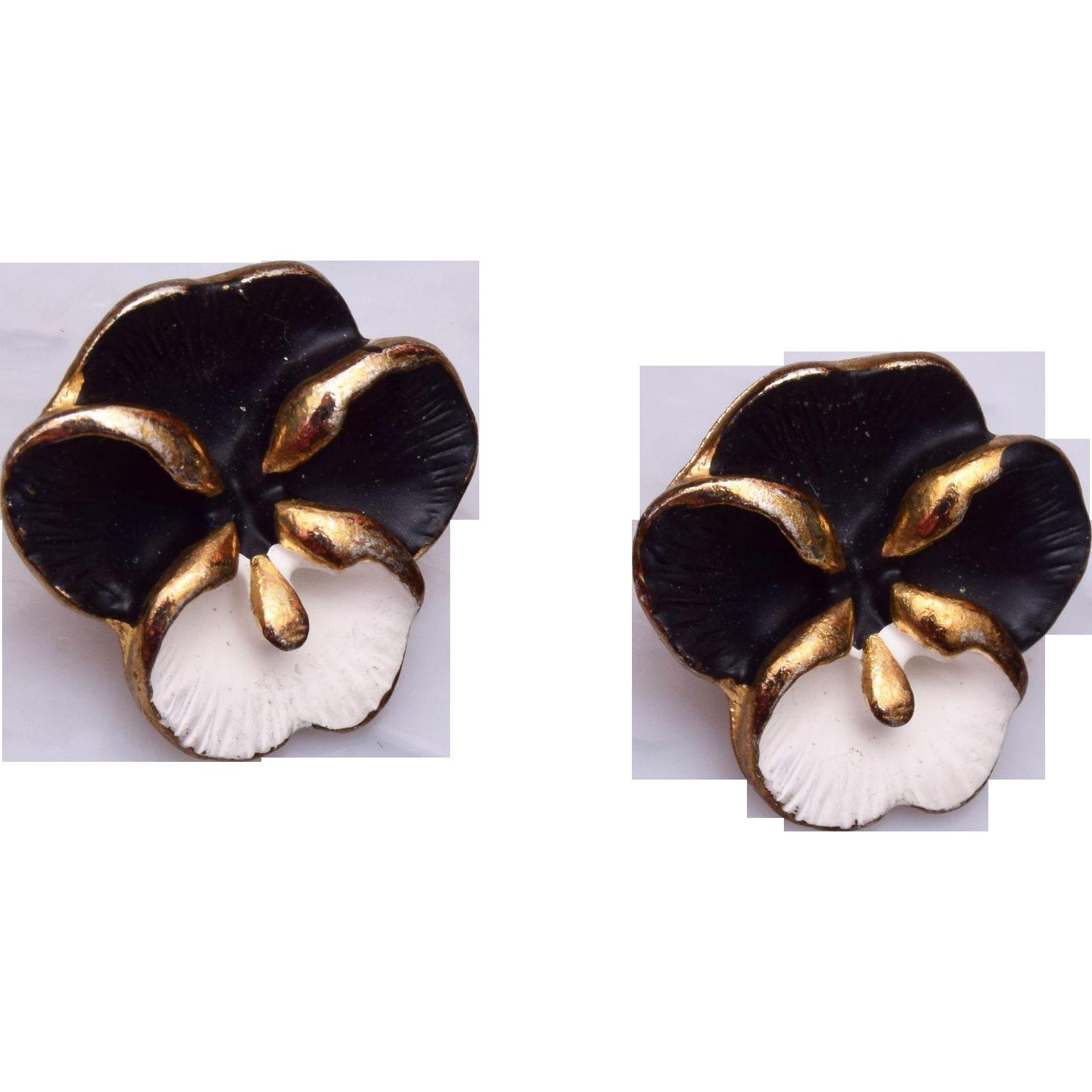 Black and White Enameled Pierced Violet Earrings