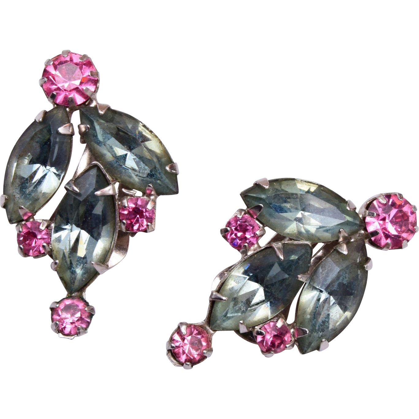 Lisner Gray and Pink Rhinestone Earrings