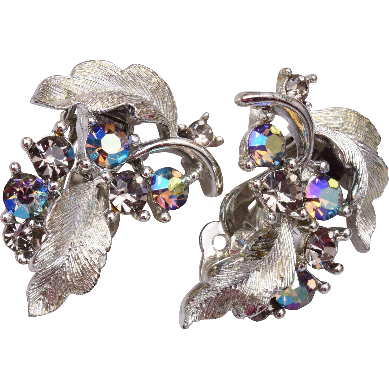 Lisner Aurora Borealis Rhinestone Earrings