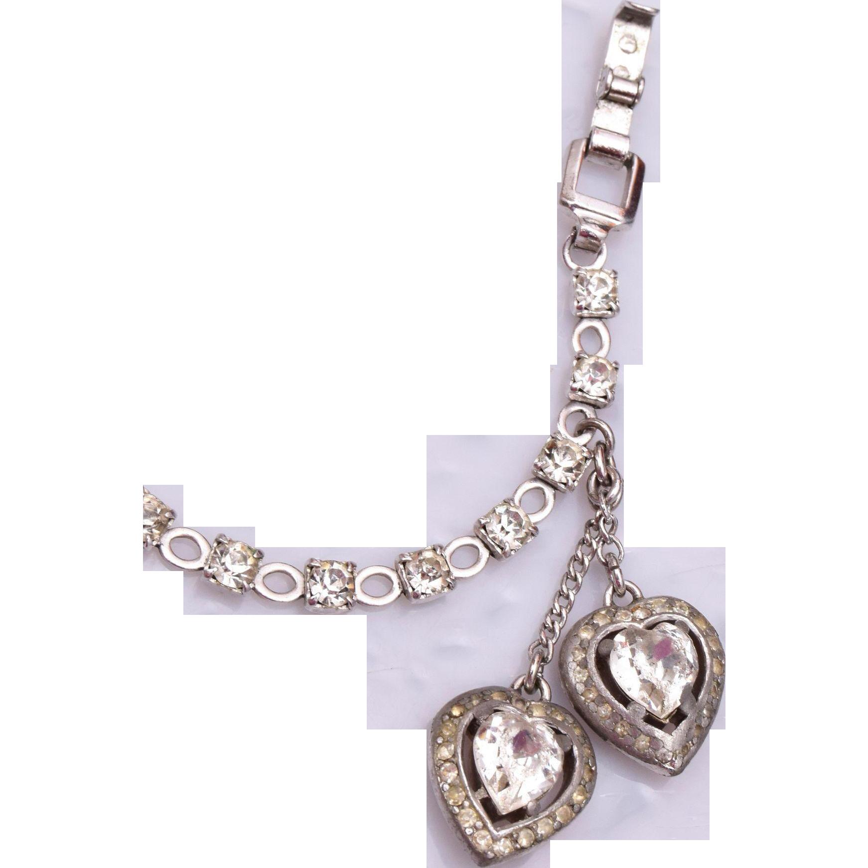 Trifari Heart and Rhinestone Bracelet