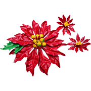 Beautiful Red Poinsettia Brooch and Earring Set