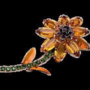 Rhinestone and Enameled Flower Brooch