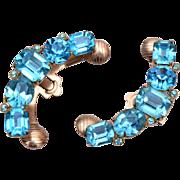 Coro Patent Pending Aqua Rhinestone WRAP Earrings