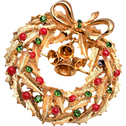 ART Christmas Wreath Brooch