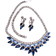 Shades of Blue Rhinestone Necklace and Earring Set