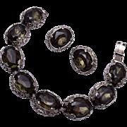 Black Diamond Rhinestone Bracelet and Earring Set