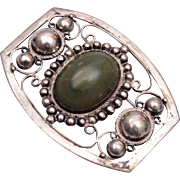 Jade and Silver Brooch Made in Mexico