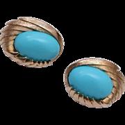 Trifari Turquoise Cabochon Earrings