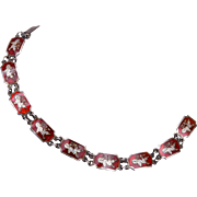 Red Siam Sterling Enamel Bracelet