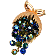 Blue and Green Dangling Crystal Brooch