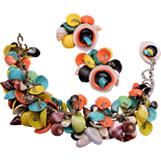 Colorful Puka Shell Bracelet and Earring Set