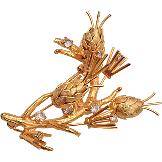 Vendome Gold and Rhinestone Brooch