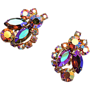 Weiss Topaz and Brown AB Rhinestone Earrings