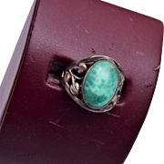 Sterling and Peking Glass Ring Size 7-1/2