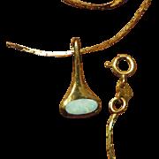 Vintage 14K Gold and Opal Necklace