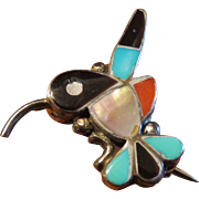 Zuni Sterling Hummingbird Pin or Pendant