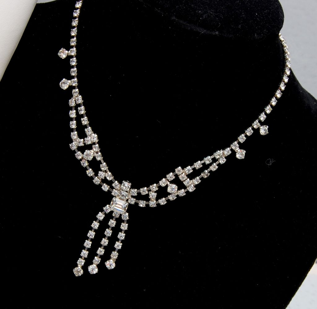 Clear Prong Set Rhinestone Necklace