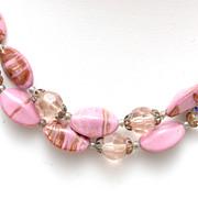 Pink Venetian Beaded 2 Strand Necklace