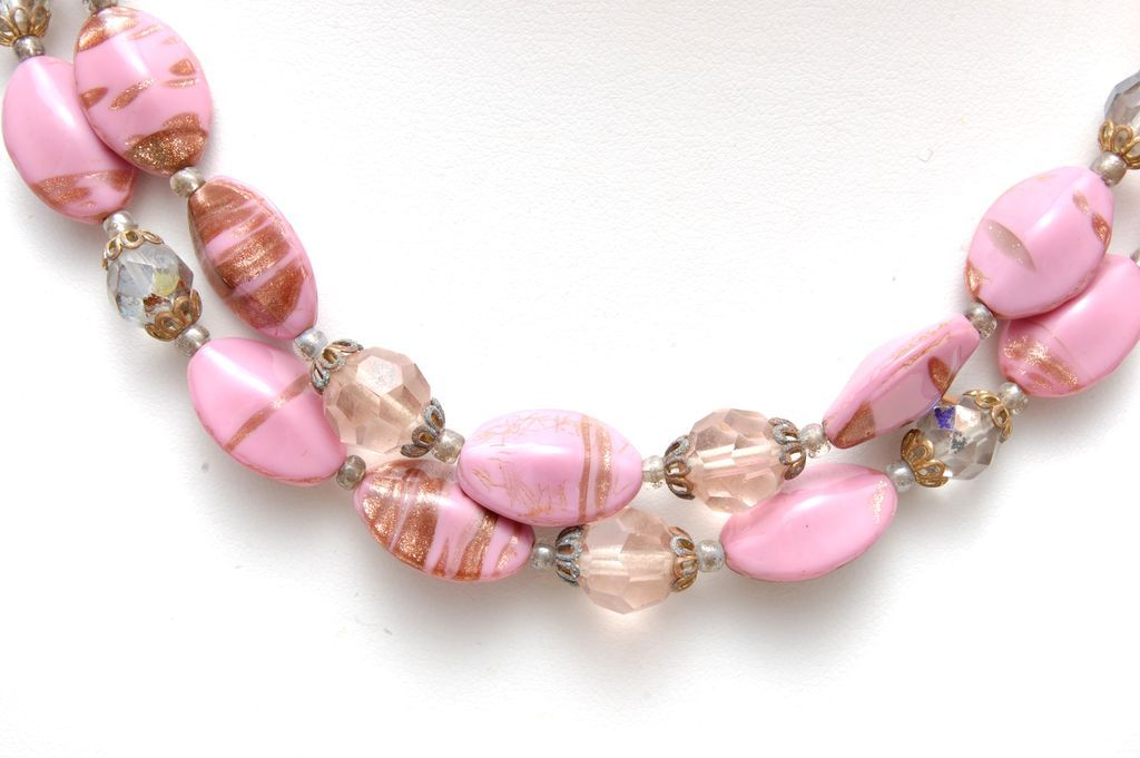 Pink Venetian Beaded 2 Strand Necklace