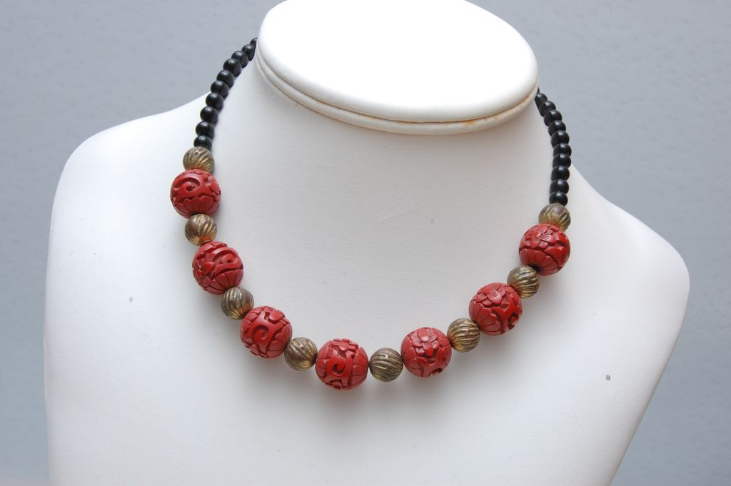 Cinnabar and Black Glass Necklace