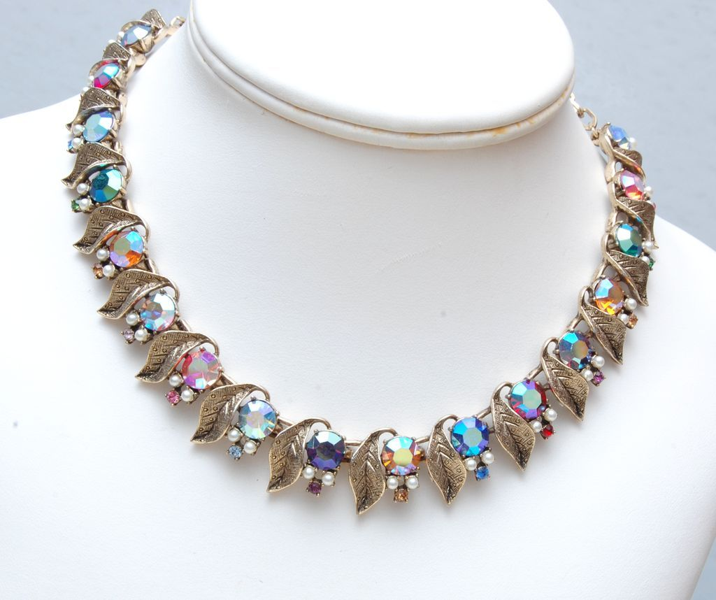 Beautiful Gold Tone Leaf and Colored AB Rhinestone and Faux Pearl Necklace