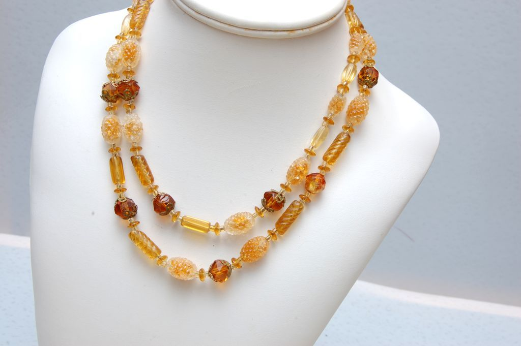 Beautiful Topaz Color Givre Beaded Necklace