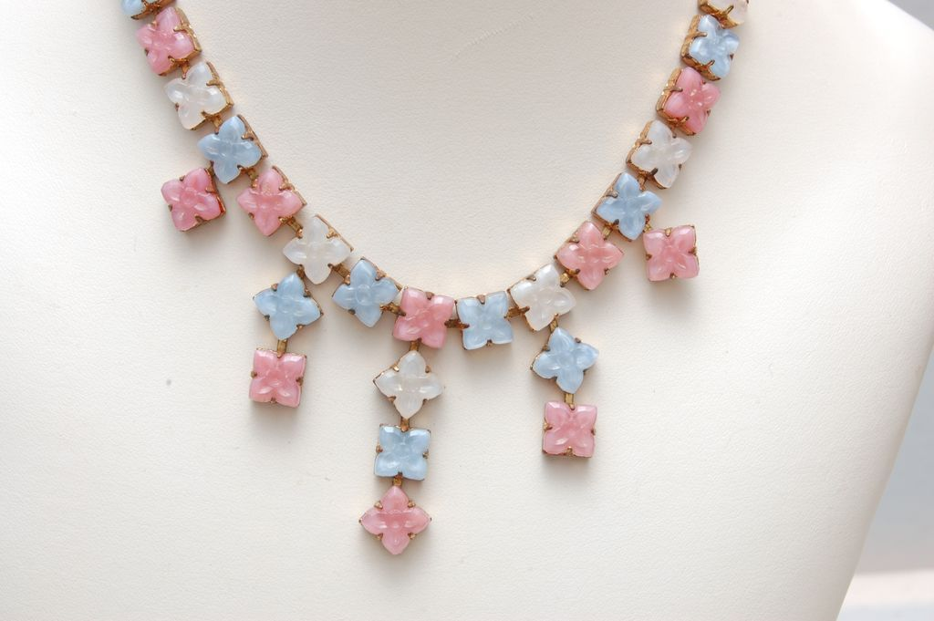 Pastel Pink, Blue and White Molded Glass Necklace