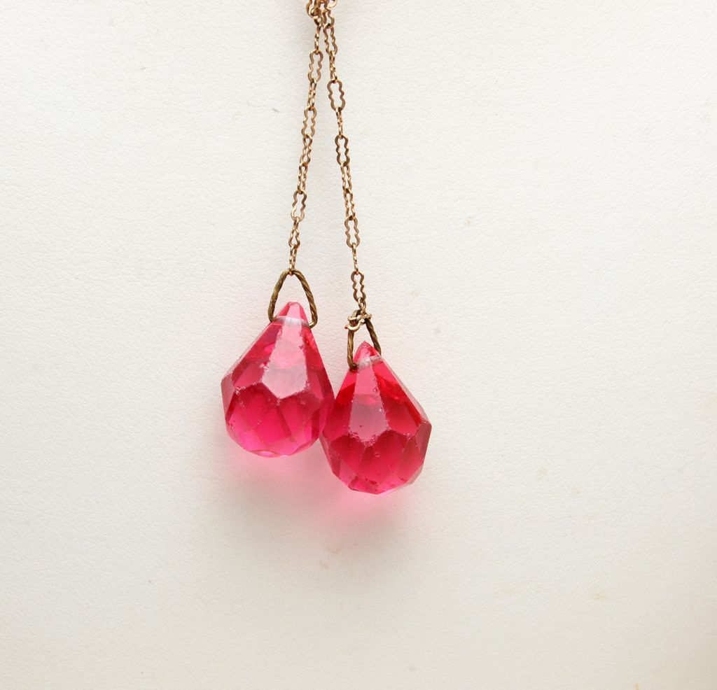 Pink Briolette Crystals and Paper Clip Chain Necklace