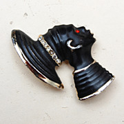 Blackamoor Woman Head Brooch